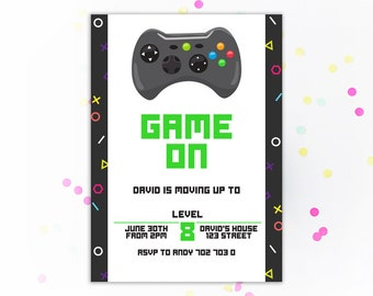 Game On Video Game Party Birthday Invitation Boy Video Gaming Game Truck Invitation Boys Birthday Invite Gamer Kids Birthday Party Printable