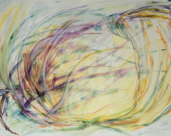 """Large original abstract watercolor painting, 27.5""""x39.5"""" Yellow, green, purple Gestural artwork Fine art Living room decor"""
