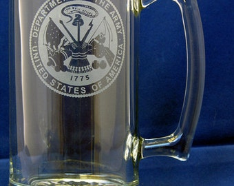 United States Army Hand-Etched 27.25 Oz. Beer Mug Made in USA