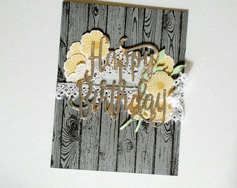Birthday card, birthday gift, birthday card her, rustic birthday card, birthday gifts her, Stampin up card, Greeting Card, homemade card