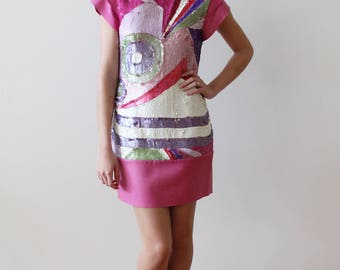 Vintage Pink Suede and Colorful Sequined Shift Party Dress
