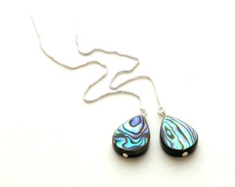 Abalone Earrings, Sterling Silver Threader Earrings, Long Chain Earrings, Paua Shell Jewelry, Dangling Drop Earrings, Bridesmaid Earrings