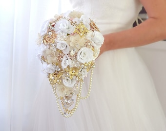 Bridal Bouquet White Roses Wedding Bouquet Teardrop Bouquet Cascading Bouquet Silk Bouquet Ivory Bouquet Unique Bouquet Gold Brooch Bouquet