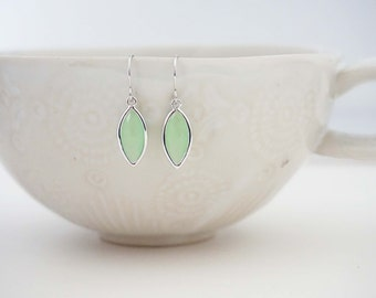 Mint and Silver Marquee Cut Earrings, Bridesmaid Earrings