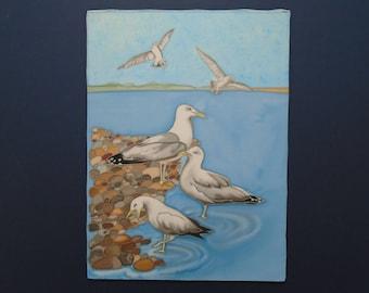 seagulls searching- original silk painting.