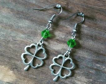 Green Swarovski Crystal Irish Shamrock Earrings