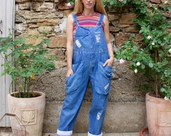Vintage 90's Denim Patch Long Length Dungarees