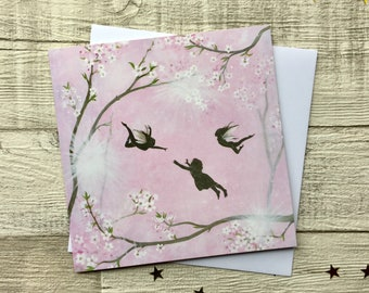 Let your dreams blossom, Fairy Card, Fantasy Art, Blank Inside, Greetings Card, UK Seller.
