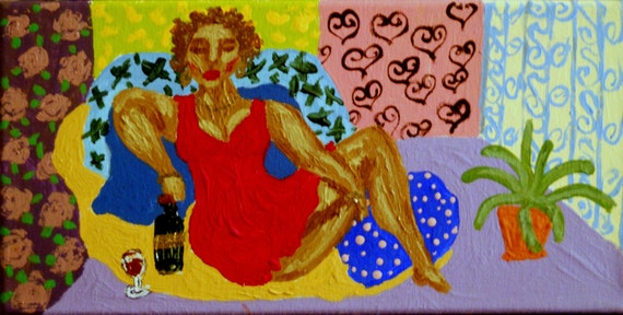 """IVA - Acrylic on 12 x 6"""" Stretched Canvas Ethnic Folk Art Woman Lounging on Pillows African American Artist Stacey Torres"""