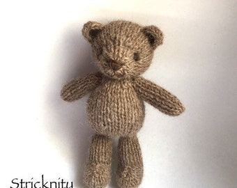 RTS. Teddy bear newborn prop toy |Knitted mini brown teddybear for newborn photo props |knitted toy | teddybear lovie