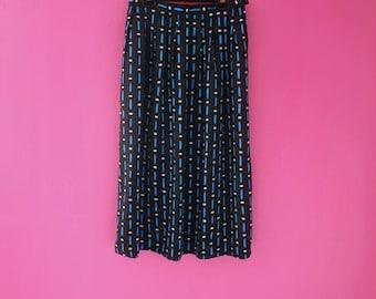 Retro Black and Blue Dotted Unique Midi Skirt