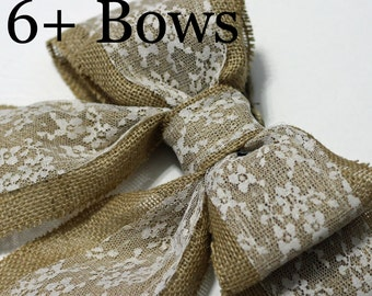 Burlap Pew Bows (6) Natural Burlap and Lace Large Double Bows Rustic Country Chic Wedding Decor Handmade Chair Bow