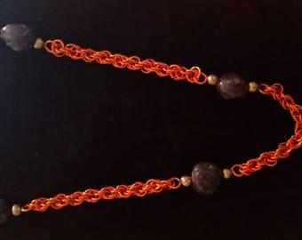 Garnet and orange twist necklace