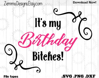 It's my birthday bitches! file types. .DXF .SVG, .PNG Silhouette studio-cutting file- commercial use