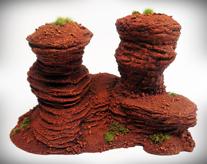 Wargame Terrain - Double Spire B – Miniature Wargaming & RPG rock formation terrain - 8x4.5x4.75 inches