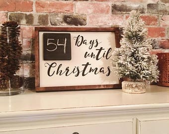 Days until Christmas painted solid wood sign