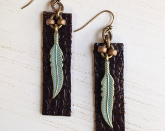 Boho Earrings Leather Feather Earrings Bohemian Earrings Boho Jewelry Tribal Leather Bar Earrings Birthday Gift Girlfriend Gift for Her