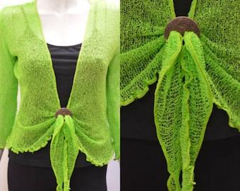 Boho chic crochet style knit shrug cardigan Lime Green onesize 10 12 14 16 18 20