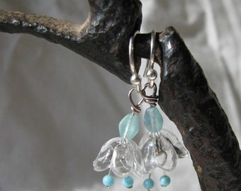 turquoise bellflower earrings