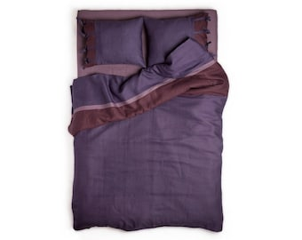 Linen duvet cover Cal King, California King duvet cover, Linen duvet covers, Violet duvet, Purple duvet cover, California King linen bedding