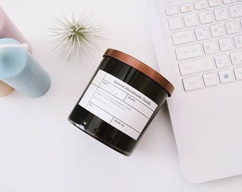 8oz Black JAR Soy Candle with Bronze Metal Lid,100% Soy Wax,eco-friendly candle.