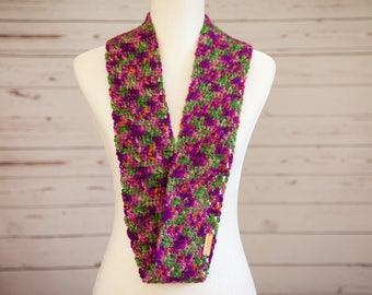 Floral infinity scarf, hand-dyed wool