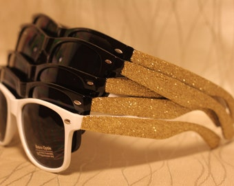 Bachelorette Party Glitz and Glamour Sunglasses with Glitter Side Sparkly/Glitter Sunglasses