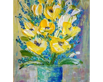 Yellow Flowers Bouquet Spring Bouquet Impasto Oil on Canvas by Luiza Vizoli