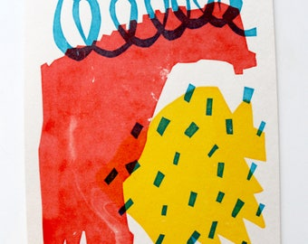 KELVIN - Abstract shape  primary colour Glasgow screen print A5