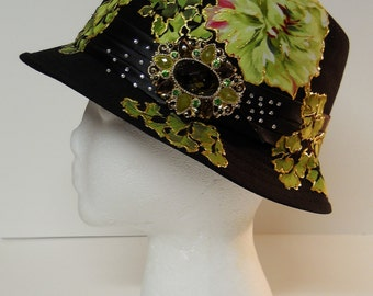 Black Hat With Custom Fabric floral Appliques and Embellishments.