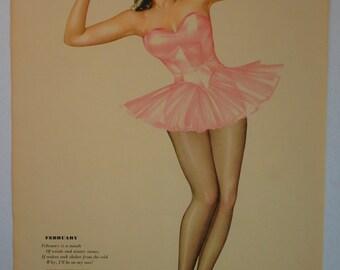 Varga February Ballerina Beauty 1945 Vintage Pin-up