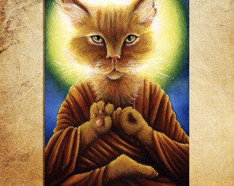 Buddha Cat, Ginger Tabby, Zen Cat 5x7 Fine Art Print