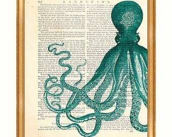 Octopus Wall Art, Octopus Art, Octopus Gift, Octopus Print Ocean Life, Sea Life Wall Decor DICTIONARY ART PRINT, Sea Life Poster Decoration