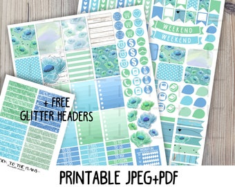 Blue floral printable planner stickers for use with Erin Condren LifePlannerTM baby blue mint green watercolor flowers hearts weekly sticker