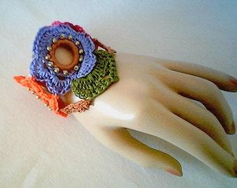 0019 Floral Pattern,Crochet Flower Bracelet,Cotton Beaded Wristlette Pattern,Cuff Original Pattern,Soft Jewelry Pattern by CarussDesignZ