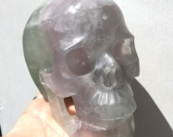 """Large 5.2"""" Fluorite Crystal Skull MYSTICAL VISIONS Green Pink Purple Third Eye Chakra Energy Healing Clearing Psychic Development Channeling"""