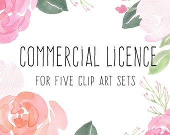 Commercial Licence for 5 sets, watercolour clipart, flower clipart, floral graphics, handpainted clipart, hand painted clip art, wedding art