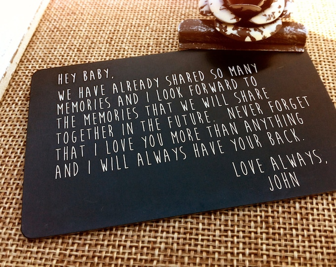 Engraved Wallet Insert - Love Note - Your Handwriting Option - Wallet Card - Him or Her - Laser Engraved - Anniversary Gift - Remembrance