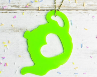 Green Tea Necklace | Neon Green Teapot Jewellery | Extra Long Necklace | Nickel Free Colourful Jewellery
