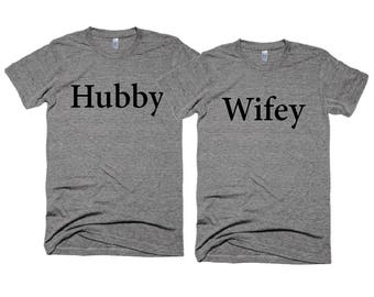 Wedding Tshirts - Hubby and Wifey  t-shirt - Wedding Photo shoot Props - Honeymoon T-shirts - Cliche Zero