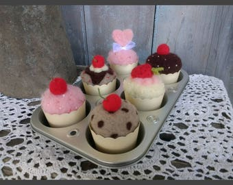 ONE Needle Felted Cupcake Birthday Gift Cupcakes Wool Handmade Faux Food Farmhouse Decor
