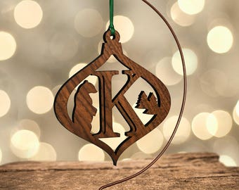 Bear Ornament with Letter K, Laser Cut Hardwood