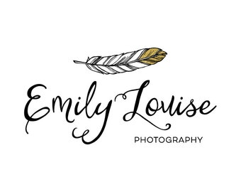 Gold Dipped Feather Photography Logo - Gold Feather Logo Design - Premade Photography Watermark - Gold Foil Premade Boutique Logo Design 176