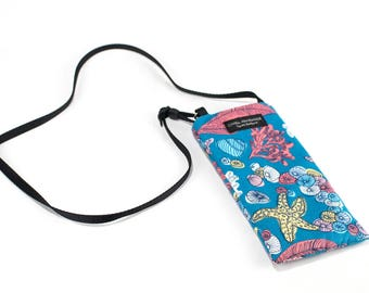 Eyeglass case for readers - Sea fabric Eyeglass Reader Case -with adjustable neck strap lanyard