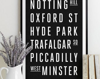 London Subway Sign - Typography Print - Modern Home Decor - Art Poster