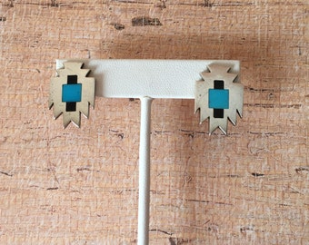 Southwestern Sterling Silver and Turquoise stud style earrings