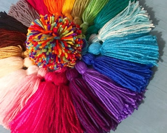 "5"" Tassels - Large Fluffy Acrylic Yarn Tassels, Available In 26 Colors - Big Handmade Rainbow - Party Decorations, Birthday Party, Wedding"