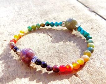 chakra bracelet, yoga, healing crystals, Genuine gemstone