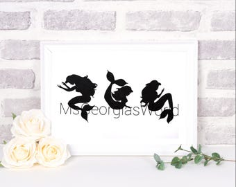 Little Mermaid Name Art, Hand Drawn, Beautiful, Personalised, A4 sized Originals,  Made to Order.