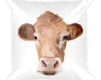 Cow Throw Pillow, Bovine Pillow, Farmhouse Home Decor